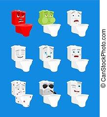 感情, トイレ, セット, emoji., まばたき, ボール, 悪, 睡眠, avatar., 洗面所, emotion., 当惑させている, 深刻, 恐れ, 悲しい, icon., 幸せ