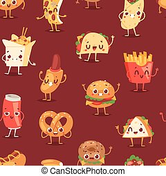 感情, ハンバーガー, 背景, バーガー, emoji, アイコン, パターン, チーズバーガー, seamless, 速い, 暑い, 微笑, emoticon, ファーストフード, 食物, 飲みなさい, 特徴, 漫画, 犬, ベクトル, ソーダ, 表現, ∥あるいは∥