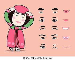 感情, ベクトル, イラスト, 韓国, 隔離された, パック, 女の子, 要素を設計しなさい, 特徴, かわいい, 漫画, 伝統的である, 美顔術