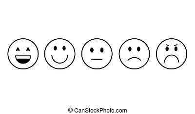 感情, 人々, 漫画, 顔, セット, アイコン, 微笑