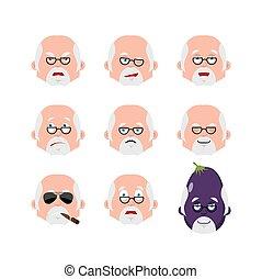 感情, 医者, 当惑させている, emoji., 医者, set., winks., イラスト, 悲しい, avatar., ベクトル, 睡眠, 悪, 深刻, 恐れ, 顔, icon., 幸せ