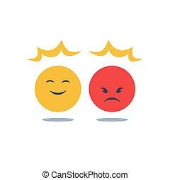 感情, 好的心情, 相反, 积极, 愤怒, 态度, 负值, 控制, 坏, 反应, 微笑, 摇摆, 或者, 意见, emoji
