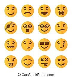 感情, 平ら, スタイル, アイコン, set., ベクトル, 微笑