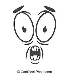 感情, 平ら, 単純である, 衝撃を与えられた, 顔, horrify, ロゴ, style., 漫画, アイコン