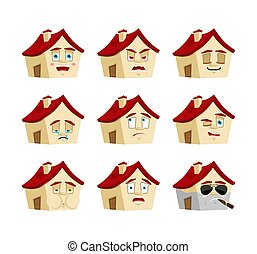 感情, 建物, セット, emoji., 家の家, 悪, 睡眠, avatar., emotion., まばたき, 当惑させている, 深刻, 恐れ, 悲しい, icon., 幸せ