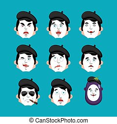感情, 当惑させている, パントマイム, emoji., 顔, set., winks., 悪, 悲しい, avatar., 模倣者, ベクトル, パントマイム, イラスト, 深刻, 恐れ, 睡眠, icon., 幸せ
