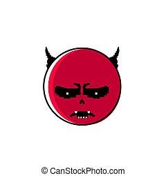 感情, 悪魔, 人々, 怒る, 否定的, 顔, 角, 漫画, 赤, アイコン