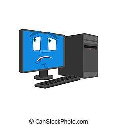感情, 損失, 当惑させている, コンピュータ, isolated., パニックに陥る, pc, ベクトル, 漫画,...