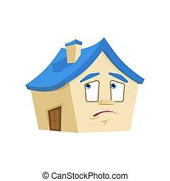 感情, 損失, 当惑させている, 建物, isolated., 家, パニックに陥る, ベクトル, 家, 漫画, style.