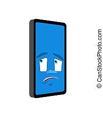 感情, 損失, smartphone, isolated., 小道具, パニックに陥る, 電話, ベクトル, 当惑させている, 漫画, style.