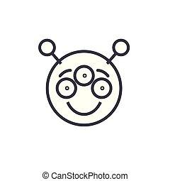 感情, 概念, 線である, editable, イラスト, 外国人, ベクトル, 線, icon., emoji