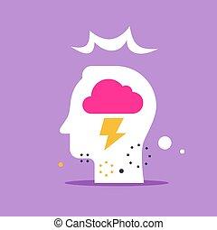 感情, 重大, 稲光, 頭, 心理学, 制御, 雲, 考え, 概念