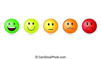 感情, 集合, 鮮艷, 人們, 臉, 微笑, 卡通, 圖象