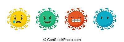 感情, emoji, set., アイコン, coronavirus, ベクトル, 旗, 背景, イラスト, states.