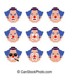 感情, funnyman, 当惑させている, 道化師, emoji., 顔, まばたき, set., 悪, 悲しい,...
