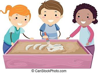 感覚, テーブル, 子供, stickman