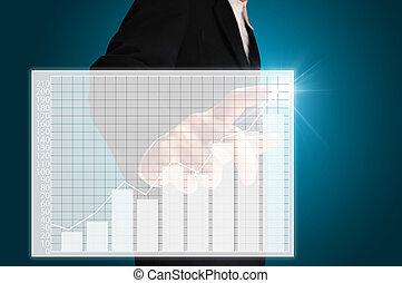 感触, グラフ, ビジネス男
