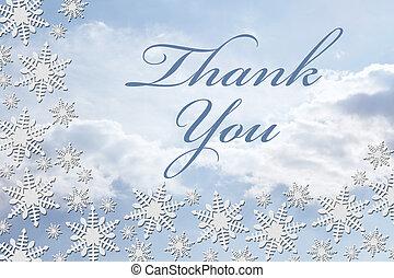 感謝しなさい, メッセージ, 雪片, 白い背景, あなた