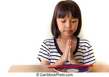 感謝しなさい, 彼女, 神, 手, thankful., 子供, 折り目, 夕食, あなた, 私, 女の子, 今日
