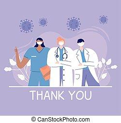 感謝しなさい, 看護婦, あなた, スタッフ, チーム, 看護婦, 医者, 病院, 医者