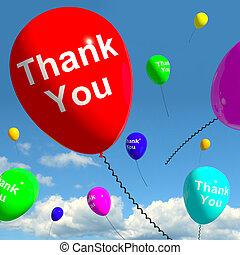 感謝しなさい, 空, ありがとう, オンラインで, メッセージ, 風船, あなた