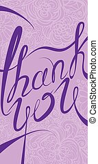 感謝しなさい, 縦, 紫色, text., calligraphic, colors., 背景, 花, 流行, あなた, カード, 手書き