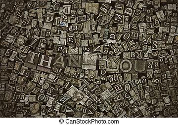 感謝しなさい, 言葉, 手紙, の上, あなた, typeset, 終わり