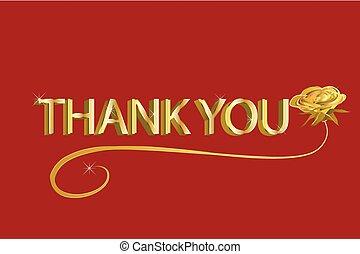 感謝しなさい, 金, テキスト, 挨拶, 赤は 上がった, あなた, カード