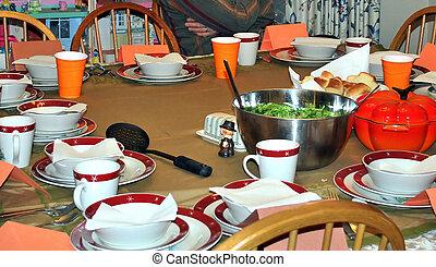 感謝祭の夕食, setting.