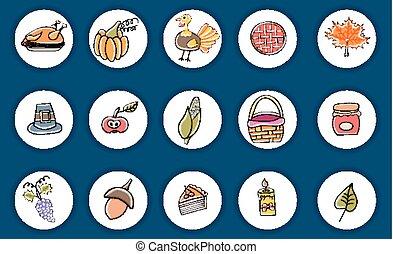 感謝祭, オブジェクト, そして, characters., いたずら書き, アイコン, stickers.
