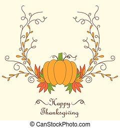 感謝祭, カード, デザイン, ∥で∥, カボチャ