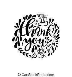 感謝祭, カード, デザイン, ∥で∥, 優雅である, ブランチ, ラウンド, フレーム, そして, テキスト, ベクトル, illustration., レタリング, デザイン