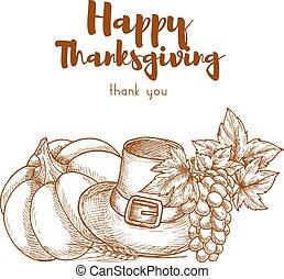 感謝祭, スケッチ, レトロ, グリーティングカード