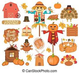 感謝祭, セット, の, トルコ, 日, オブジェクト