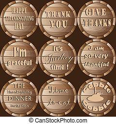 感謝祭, フレーム, 樽, ステッカー