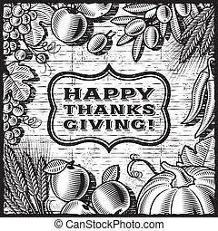 感謝祭, レトロ, カード, 黒