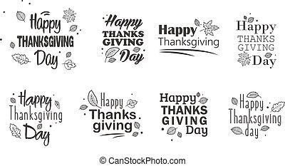 感謝祭, 日, 活版印刷, set., 手, 引かれる, 幸せ, 感謝祭, 日, バックグラウンド。