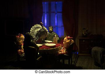 感謝祭, 精選する, トルコ, turkey., フォーカス, そっくりそのまま, テーブル。, 手製, ミニチュア