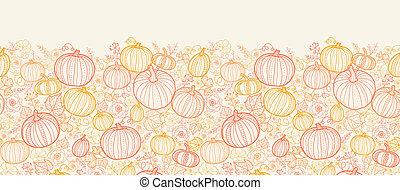 感謝祭, 線画, pumkins, 縦, seamless, パターン, 背景