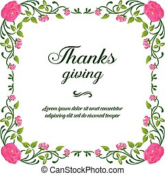 感謝祭, 背景, ポスター, テンプレート, 型, ベクトル, frame., ピンクの花, デザイン