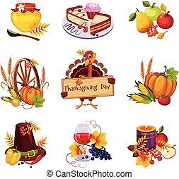 感謝祭, 装飾用である, elements., ベクトル, イラスト, セット