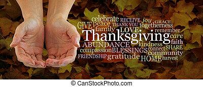 感謝祭, 言葉, 共有, 連合した, 寄付