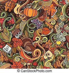 感謝祭, hand-drawn, ベクトル, doodles, 漫画, 主題