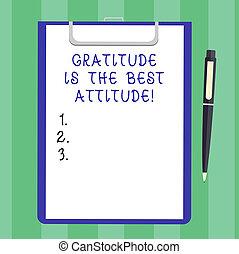 感謝, ありなさい, ボールペン, 概念, シート, クリップボード, すべて, テキスト, 意味, space., 感謝している, ペン, ペーパー, 達成しなさい, ブランク, 手書き, あなた, attitude., クリック, 最も良く, 債券