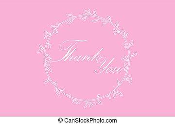 感謝, 框架, 輪, 矢量, 分支, 信, 你, 常春藤