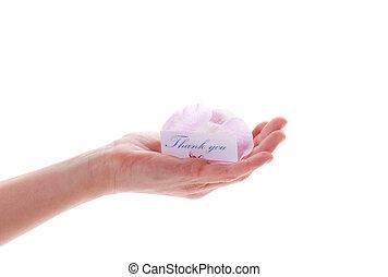 感謝, 花, カード, 彼女, 手