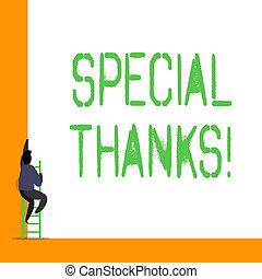 感謝, acknowledgment., 概念, 単語, ビジネス, テキスト, 執筆, thanks., 感謝, 表現, ∥あるいは∥, 特別