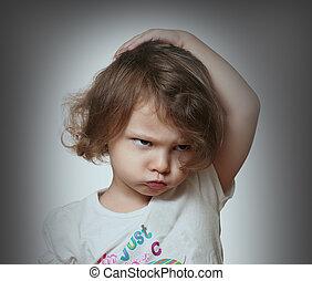 愤怒, 孩子, 在上, 灰色, 背景。, closeup, 肖像
