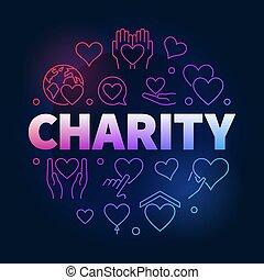 慈善, 以及, 捐贈, 矢量, 鮮艷, 圓, 線, 插圖