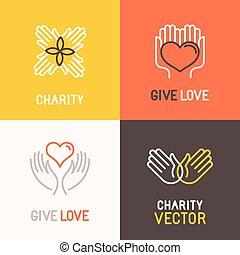 慈善, 概念, ベクトル, ボランティア